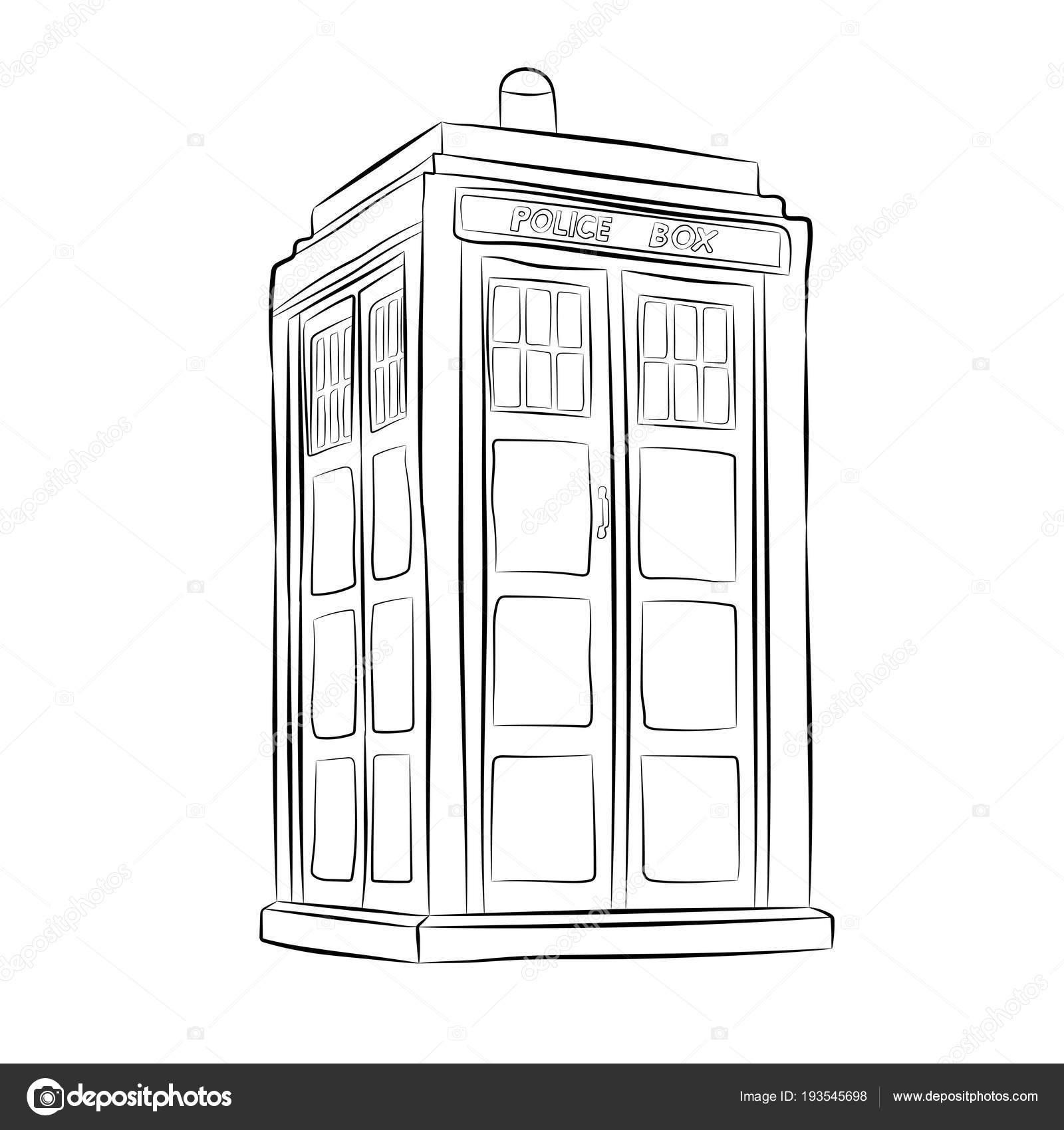 Policie Box Kontury Kresby Tuzkou Stock Vektor C V Lab 193545698