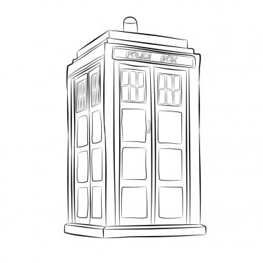 police box contour drawing in pencil