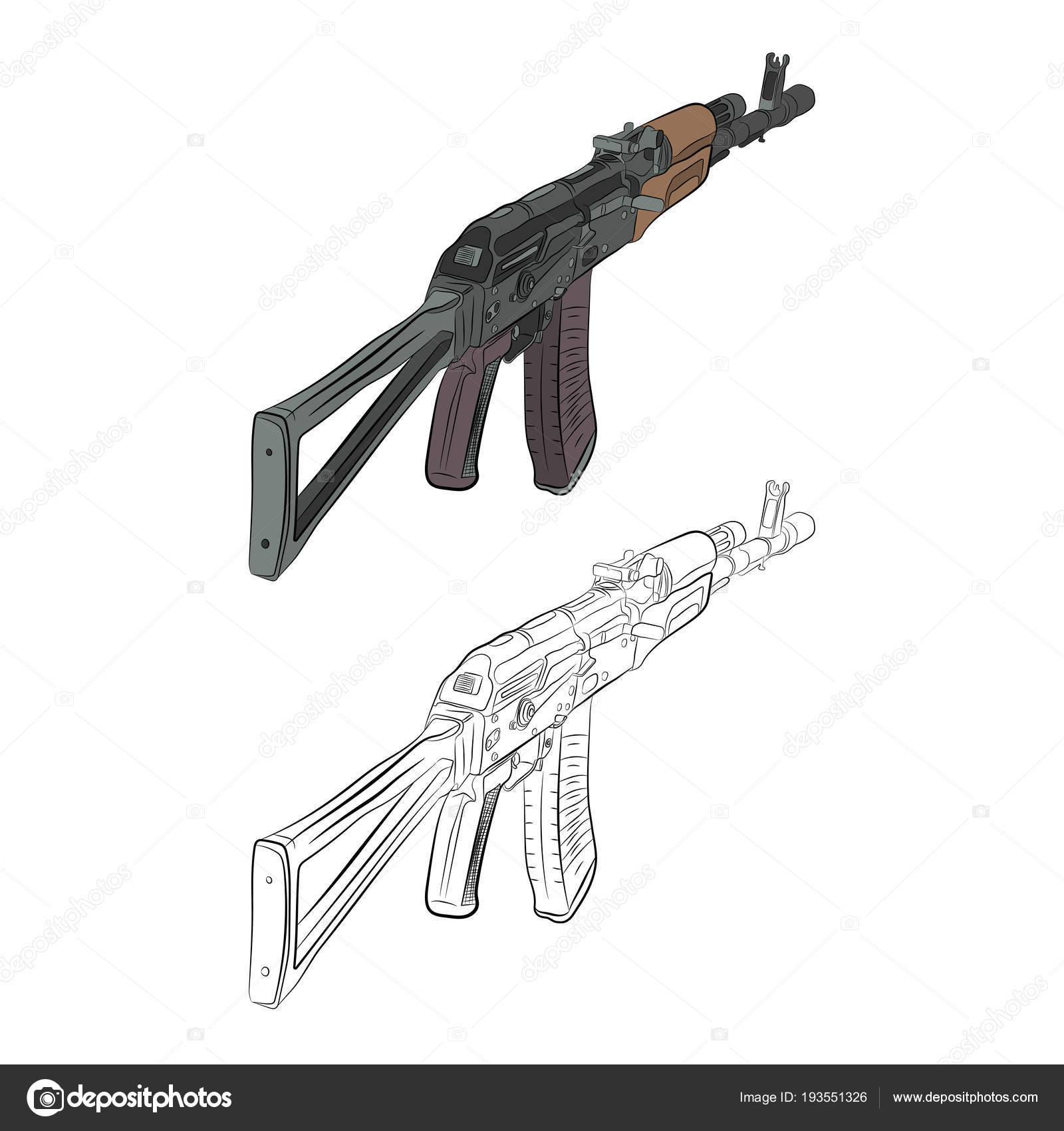 Assault Rifle Ak 47 Contour Drawing In Pencil Stock Vector V Lab