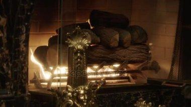 Warme Gezellige Woonkamer : Interieur van de woonkamer. close up shot van warme gezellige vuur