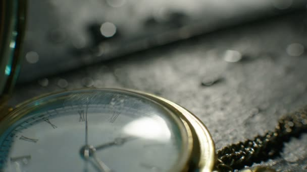 Setting Classic Pocket Watch Ticking in Slow Motion. Small pocket clock in man hands close up. Close-up of hand opening pocket watch. Macro shot