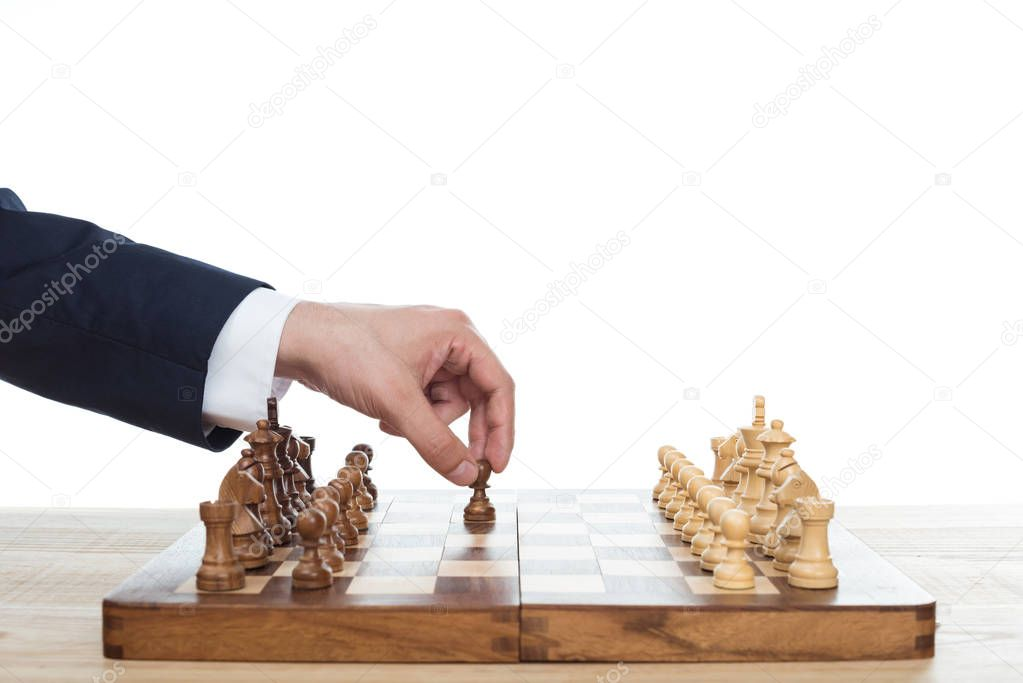 Cropped view of businessman playing chess alone isolated on white stock vector