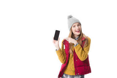 girl pointing at smartphone