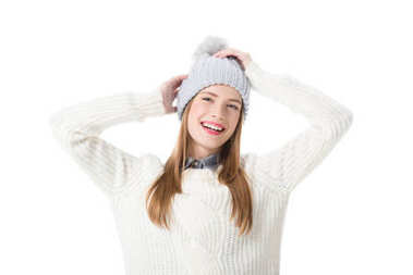 girl in knitted hat