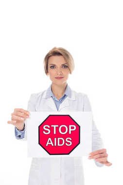 doctor with stop aids placard