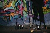 oříznutý pohled stojící na žebříku a malba barevná graffiti v noci