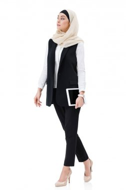 Stylish arabic businesswoman in hijab in digital tablet isolated on white stock vector