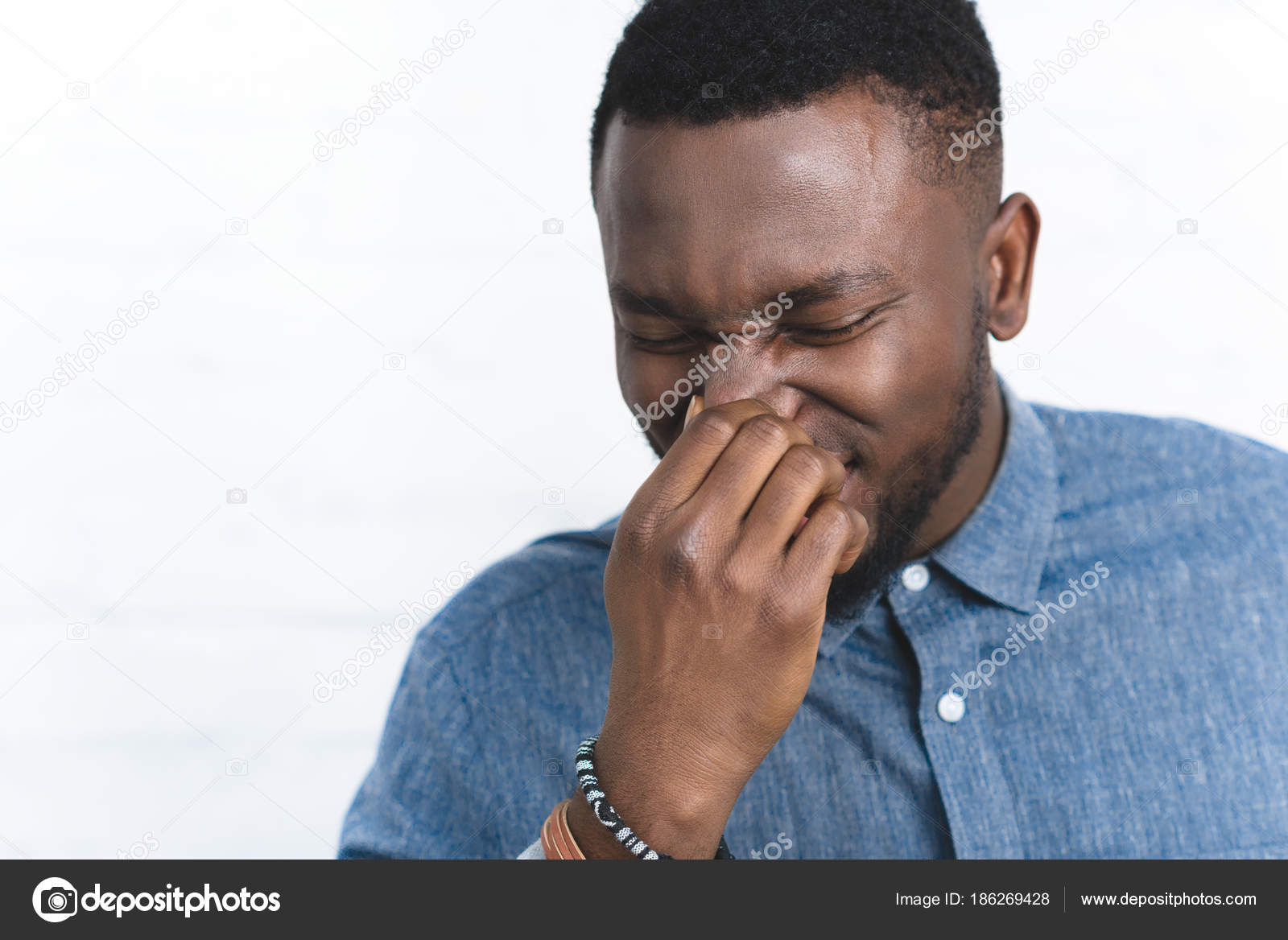 Young African American Man Touching Nose — Stock Photo