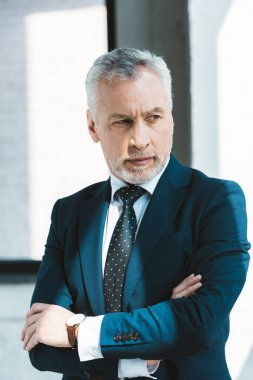 portrait of confident senior businessman standing with crossed arms and looking away