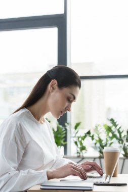 side view of young businesswoman using laptop at workplace