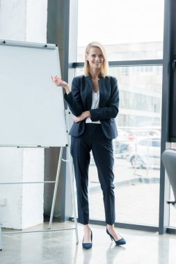 beautiful smiling blonde businesswoman showing blank whiteboard in office