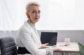 atraktivní starší podnikatelka pracující s přenosným počítačem v moderní kanceláři