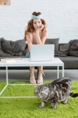 Photo beautiful young woman working with laptop while her cat lying on floor on foreground at home