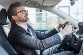 Fotografie vousatý velvyslanec držící volant při řízení auta