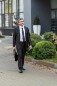 jóképű diplomata szemüvegben tartja aktatáska és közel áll az épület