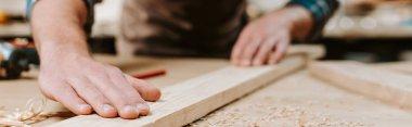 panoramic shot of carpenter touching wooden plank