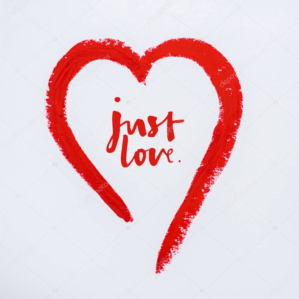 Red drawn heart near just love letters on white stock vector