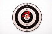 Fotografie black and white dartboard with red arrows isolated on white