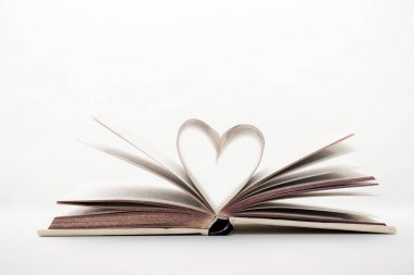 book with heart-shaped pages on white with copy space