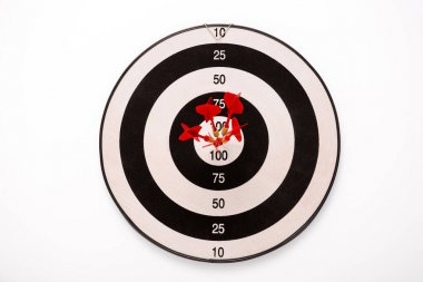 Black and white dartboard with red arrows isolated on white stock vector