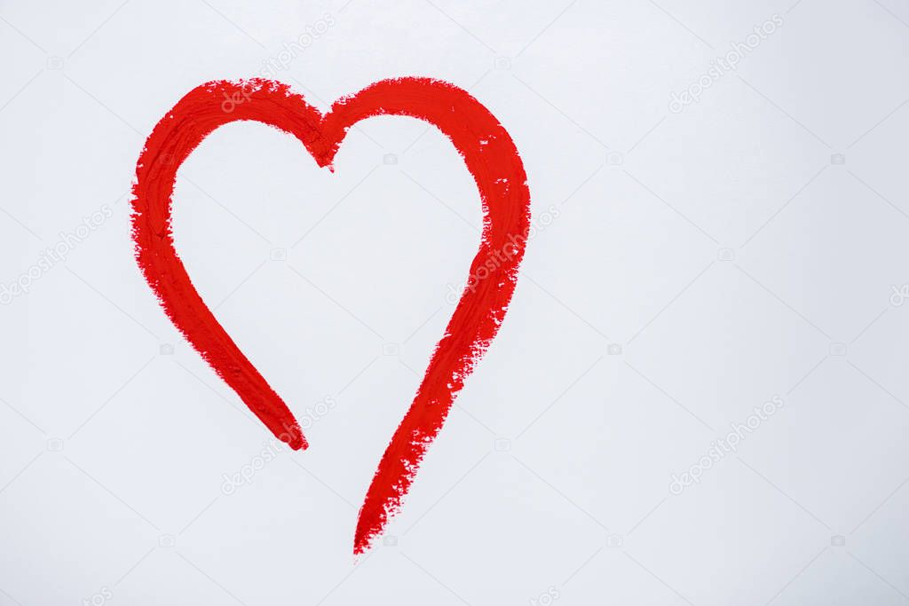 Red drawn heart isolated on white with copy space stock vector