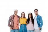 boldog multikulturális barátok ölelés és nézte el elszigetelt fehér
