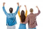zpět pohled mladých přátel ukazující ano gesto izolované na bílém