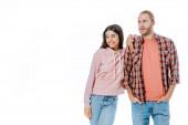 boldog fiatal fajok közötti házaspár néz félre elszigetelt fehér