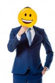 Kyjev, Ukrajina - 12. srpna 2019: obchodník v modrém obleku drží šťastný úsměv před tváří izolovanou na bílém