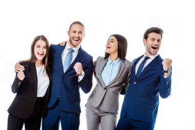 happy multicultural business people in suits laughing and showing yes gestures isolated on white
