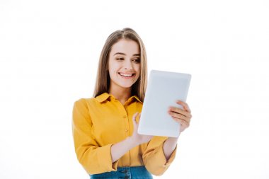 Smiling attractive girl using digital tablet isolated on white stock vector