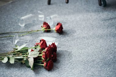 flowers and broken glasses on floor in robbed apartment