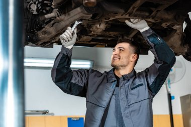 selective focus of positive mechanic inspecting raised car with wrench