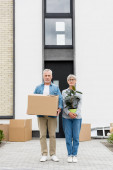 Photo mature man holding box and woman holding plant near new house
