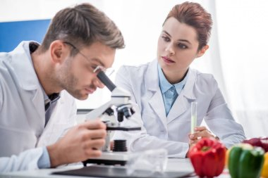 Selective focus of molecular nutritionist holding test tube and looking at his colleague with microscope stock vector