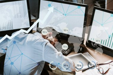 Tired bi-racial trader sleeping near computers with graphs stock vector