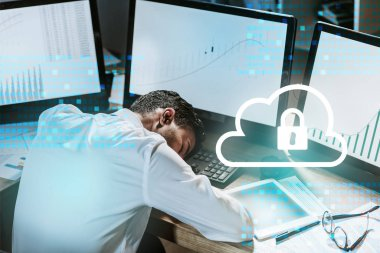 Tired bi-racial trader sleeping near computers with graphs and cloud with padlock stock vector