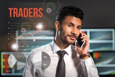 Happy bi-racial man talking on smartphone near traders letters stock vector