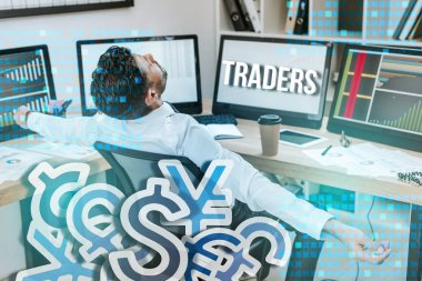 Bi-racial man with outstretched hands sitting near computers and traders letters stock vector