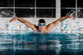 messa a fuoco selettiva di bello sportivo nuoto farfalla ictus in piscina