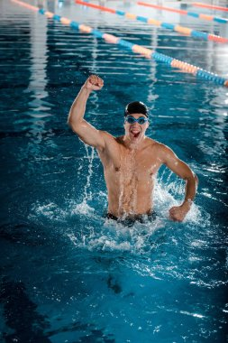 excited and muscular swimmer celebrating triumph