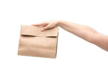 Cropped view of woman holding paper bag isolated on white stock vector