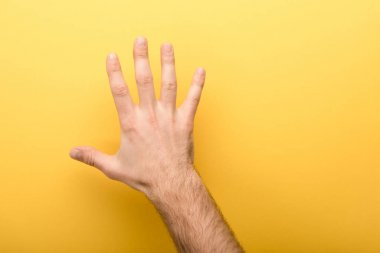Cropped view of man showing five fingers on yellow background stock vector