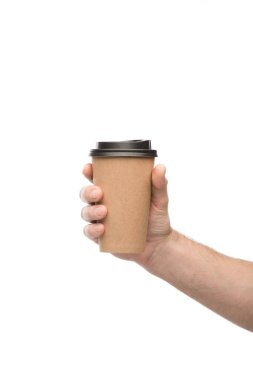 Cropped view of man holding paper cup isolated on white stock vector