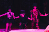 KYIV, UKRAINE - NOVEMBER 1, 2019: Artist in costumes performing at arena in circus