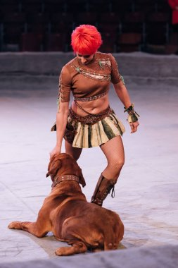 KYIV, UKRAINE - NOVEMBER 1, 2019: Attractive handler performing with dogue de bordeaux in circus stock vector