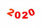 Draufsicht auf rote 2020 Zahl isoliert auf weiße