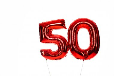 Number 50 red balloons isolated on white stock vector