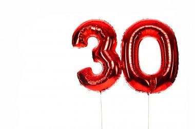 Number 30 red balloons isolated on white stock vector
