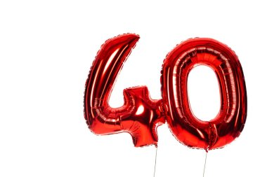 Number 40 red balloons isolated on white stock vector